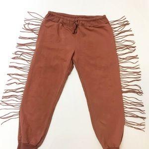 Kittenish Pants & Jumpsuits - kittenish jessie james decker Fringe Joggers Sz L